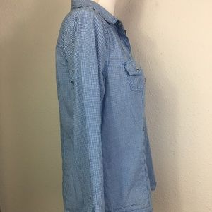 Old Navy Tops - Old Navy Size M Blue White Check Pearl Snap Shirt